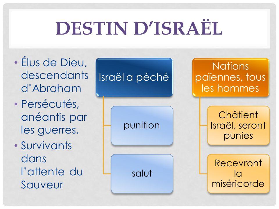 DESTIN DISRAËL Élus de Dieu, descendants dAbraham Persécutés, anéantis par les guerres.