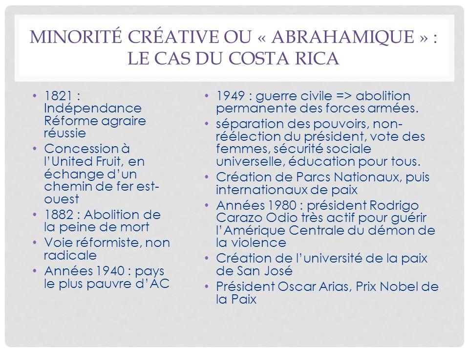 MINORITÉ CRÉATIVE OU « ABRAHAMIQUE » : LE CAS DU COSTA RICA 1821 : Indépendance Réforme agraire réussie Concession à lUnited Fruit, en échange dun che