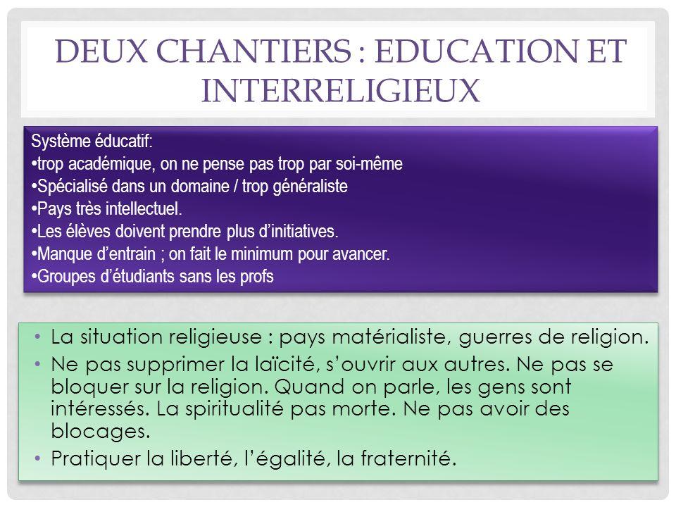 La situation religieuse : pays matérialiste, guerres de religion.