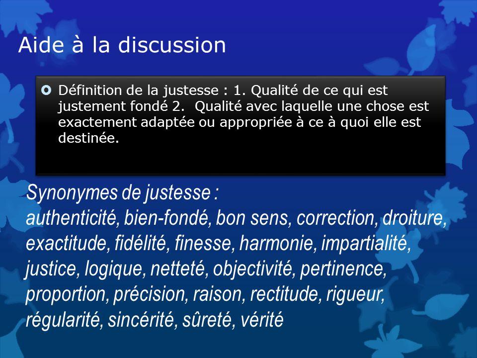 Aide à la discussion Définition de la justesse : 1. Qualité de ce qui est justement fondé 2. Qualité avec laquelle une chose est exactement adaptée ou