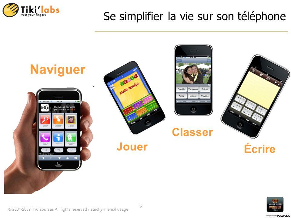 © 2004-2009 Tikilabs sas All rights reserved / strictly internal usage 6 Se simplifier la vie sur son téléphone Classer Naviguer Jouer Écrire