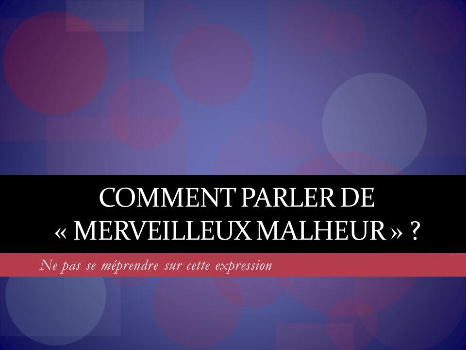 COMMENT PARLER DE « MERVEILLEUX MALHEUR » ? Ne pas se méprendre sur cette expression