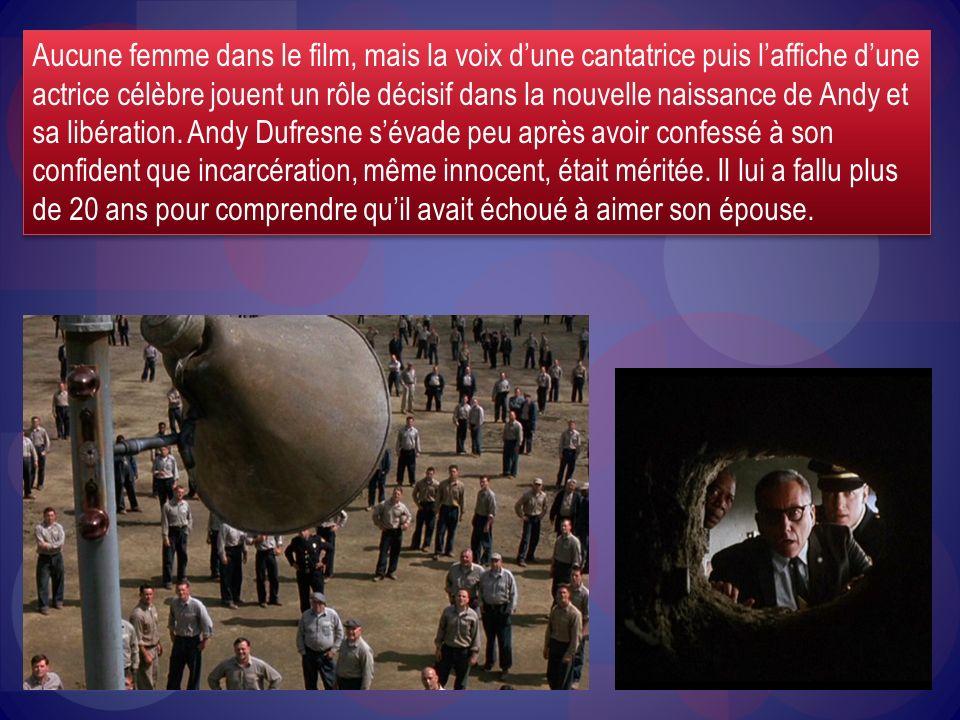Aucune femme dans le film, mais la voix dune cantatrice puis laffiche dune actrice célèbre jouent un rôle décisif dans la nouvelle naissance de Andy e