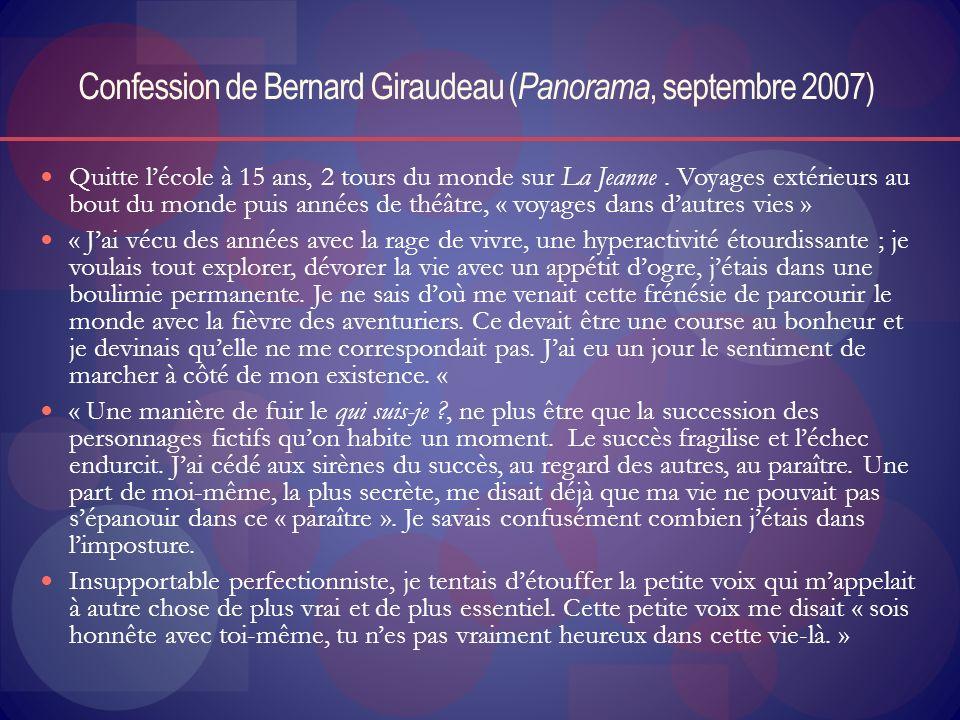 Confession de Bernard Giraudeau ( Panorama, septembre 2007) Quitte lécole à 15 ans, 2 tours du monde sur La Jeanne. Voyages extérieurs au bout du mond