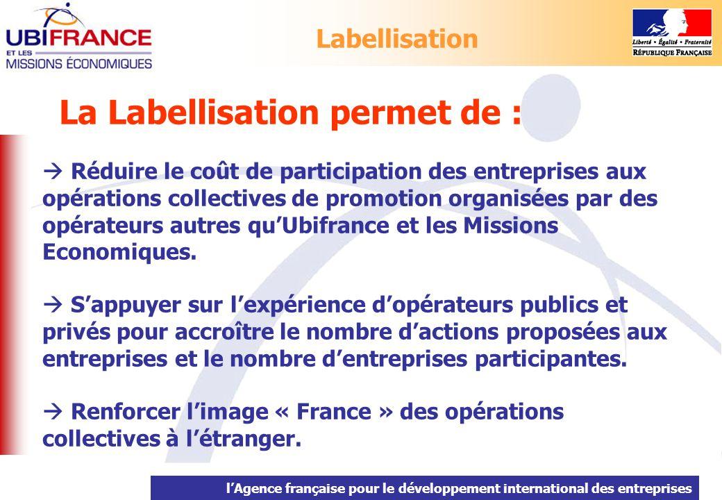 lAgence française pour le développement international des entreprises La Labellisation permet de : Réduire le coût de participation des entreprises au
