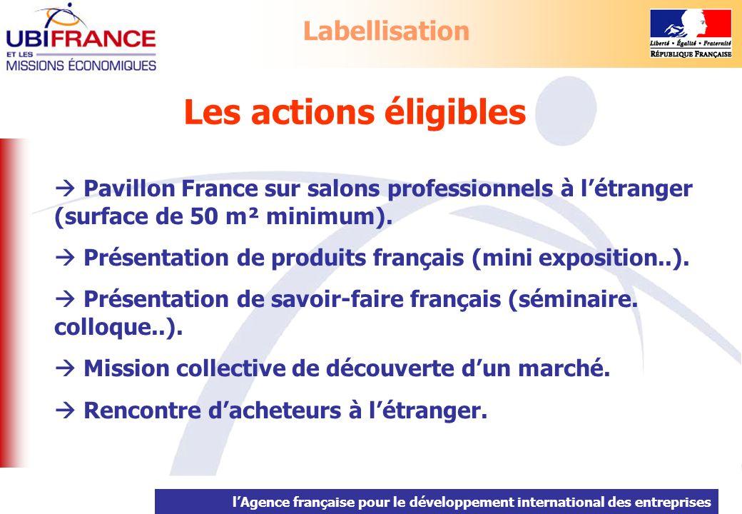 lAgence française pour le développement international des entreprises Les actions éligibles Pavillon France sur salons professionnels à létranger (sur