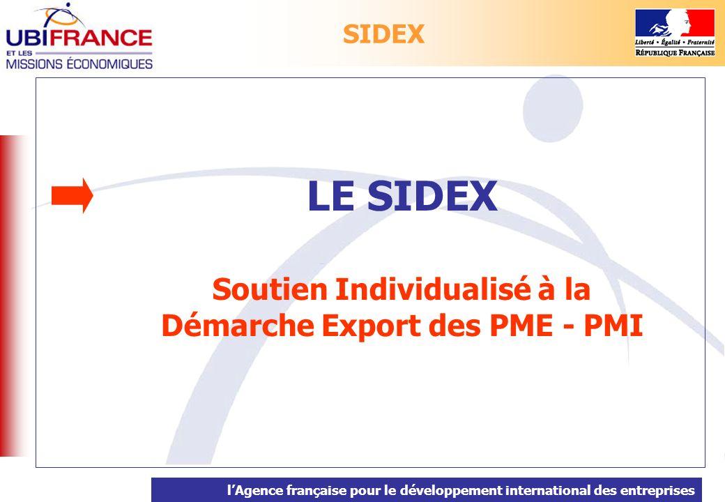 lAgence française pour le développement international des entreprises LE SIDEX Soutien Individualisé à la Démarche Export des PME - PMI SIDEX