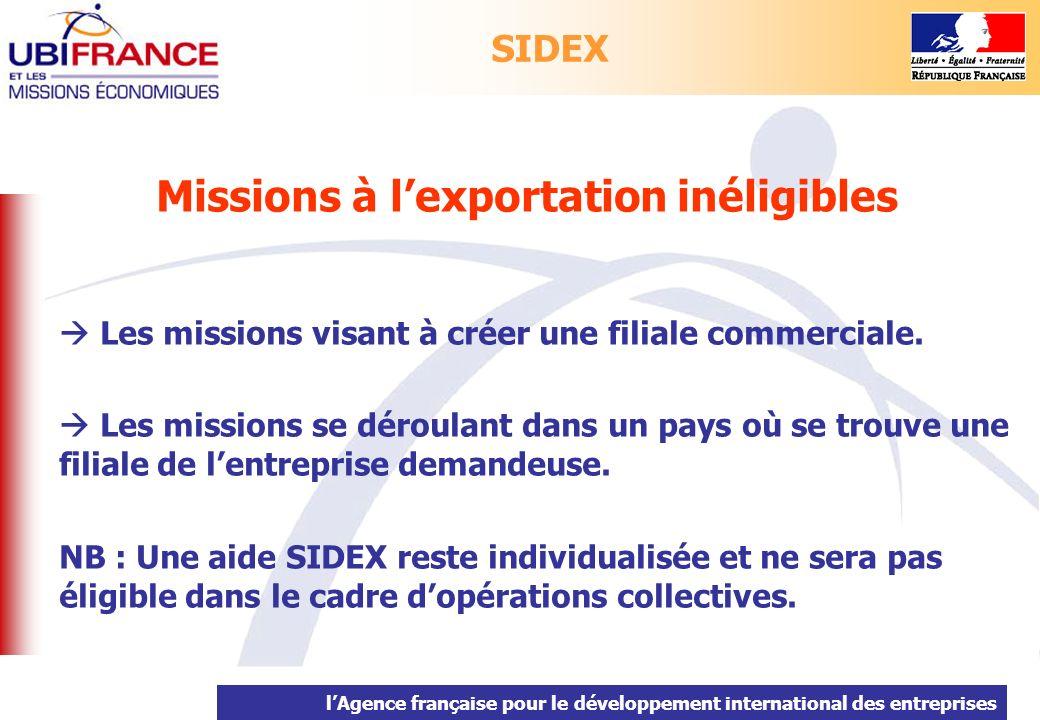 lAgence française pour le développement international des entreprises Missions à lexportation inéligibles Les missions visant à créer une filiale comm