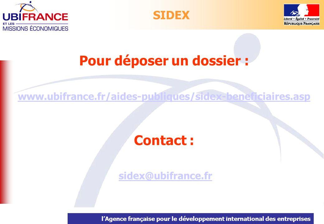 lAgence française pour le développement international des entreprises Pour déposer un dossier : www.ubifrance.fr/aides-publiques/sidex-beneficiaires.a