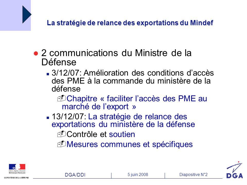 DGA/DDI 5 juin 2008Diapositive N°2 MINISTÈRE DE LA DÉFENSE La stratégie de relance des exportations du Mindef 2 communications du Ministre de la Défen