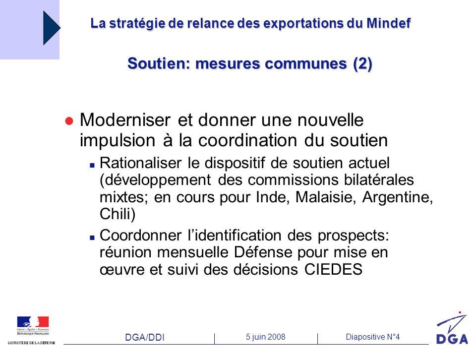 DGA/DDI 5 juin 2008Diapositive N°4 MINISTÈRE DE LA DÉFENSE La stratégie de relance des exportations du Mindef Soutien: mesures communes (2) Moderniser