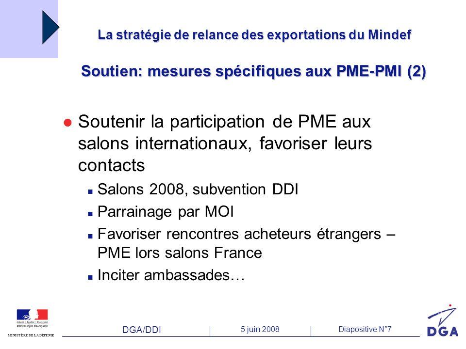 DGA/DDI 5 juin 2008Diapositive N°7 MINISTÈRE DE LA DÉFENSE La stratégie de relance des exportations du Mindef Soutien: mesures spécifiques aux PME-PMI