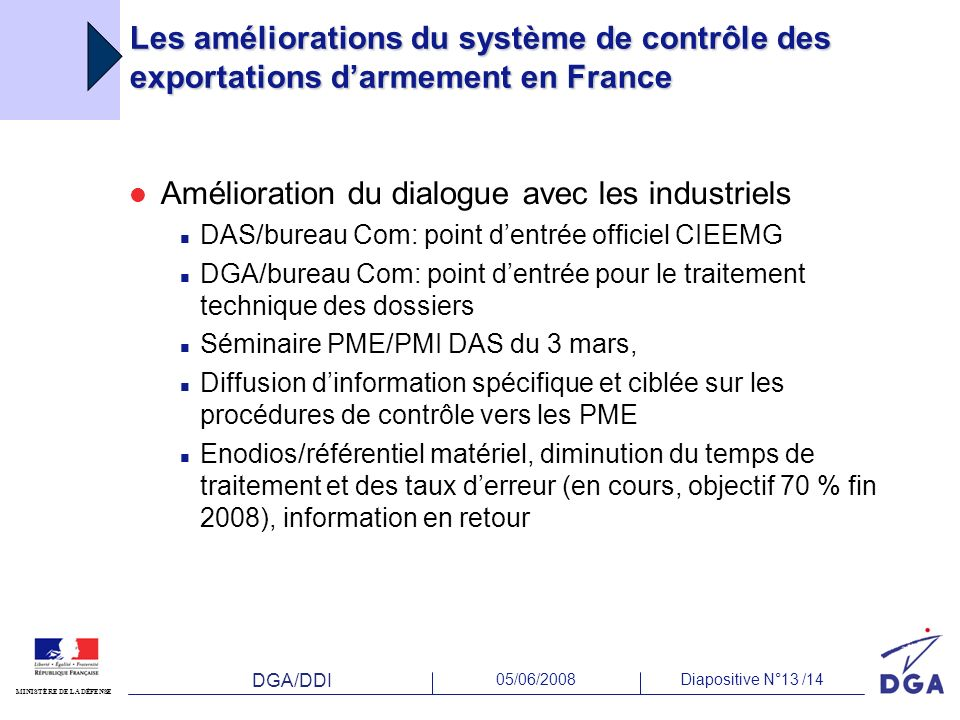 DGA/DDI 05/06/2008Diapositive N°13 /14 MINISTÈRE DE LA DÉFENSE Les améliorations du système de contrôle des exportations darmement en France Améliorat
