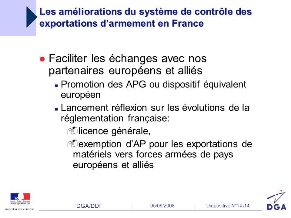 DGA/DDI 05/06/2008Diapositive N°14 /14 MINISTÈRE DE LA DÉFENSE Les améliorations du système de contrôle des exportations darmement en France Faciliter