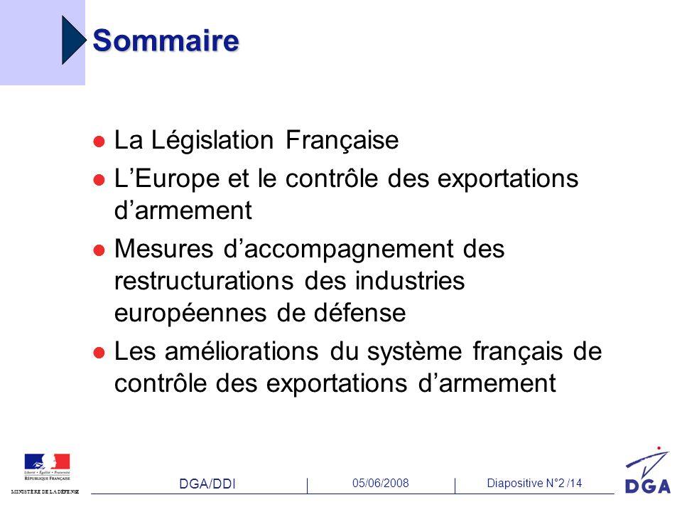 DGA/DDI 05/06/2008Diapositive N°2 /14 MINISTÈRE DE LA DÉFENSE Sommaire La Législation Française LEurope et le contrôle des exportations darmement Mesu