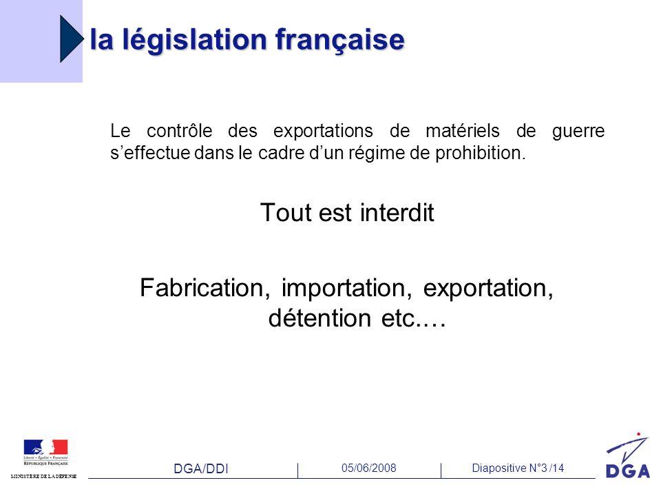 DGA/DDI 05/06/2008Diapositive N°3 /14 MINISTÈRE DE LA DÉFENSE la législation française Le contrôle des exportations de matériels de guerre seffectue d