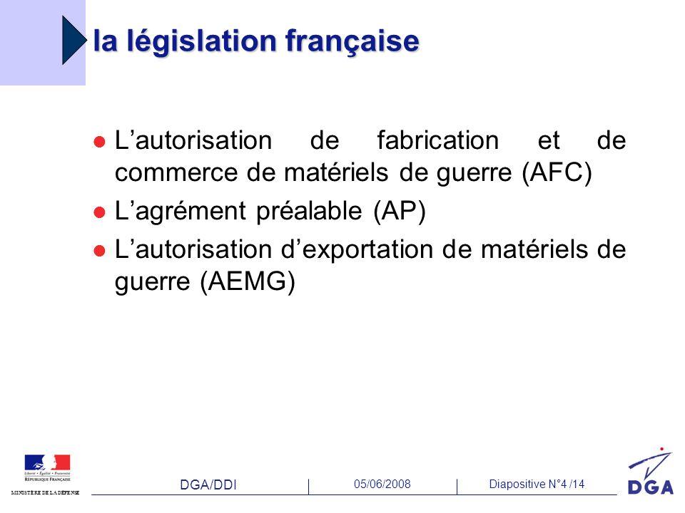 DGA/DDI 05/06/2008Diapositive N°4 /14 MINISTÈRE DE LA DÉFENSE la législation française Lautorisation de fabrication et de commerce de matériels de gue