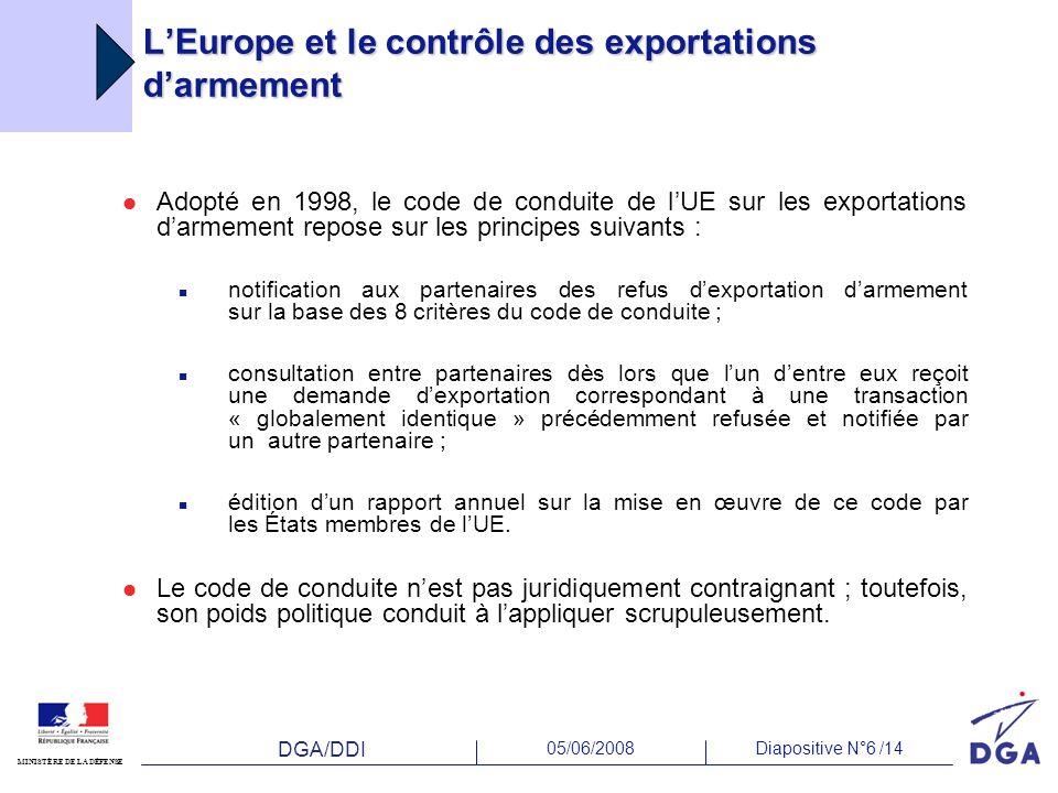DGA/DDI 05/06/2008Diapositive N°6 /14 MINISTÈRE DE LA DÉFENSE LEurope et le contrôle des exportations darmement Adopté en 1998, le code de conduite de