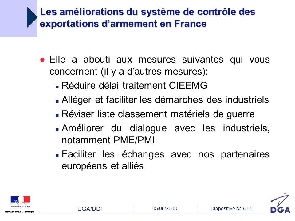 DGA/DDI 05/06/2008Diapositive N°9 /14 MINISTÈRE DE LA DÉFENSE Les améliorations du système de contrôle des exportations darmement en France Elle a abo