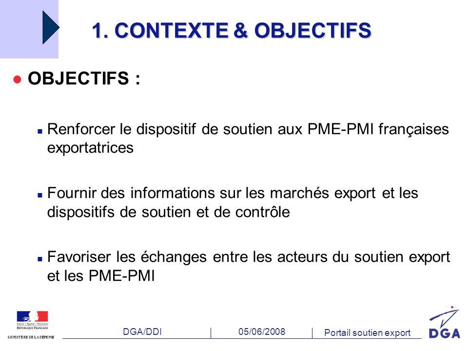 DGA/DDI MINISTÈRE DE LA DÉFENSE 05/06/2008 Portail soutien export 1.