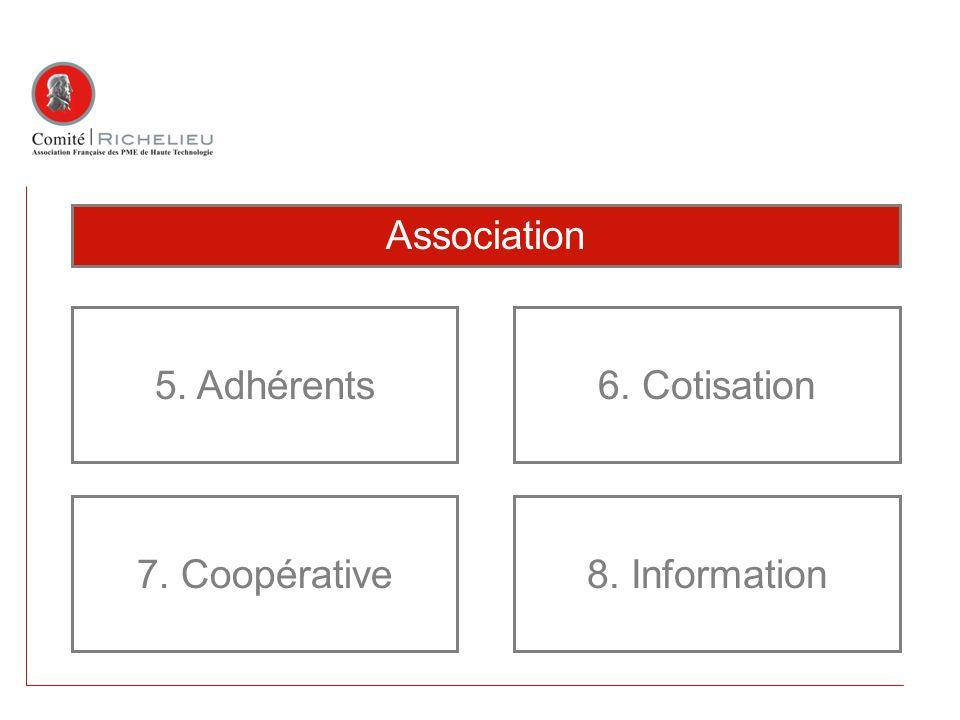Association 5. Adhérents 7. Coopérative 6. Cotisation 8. Information
