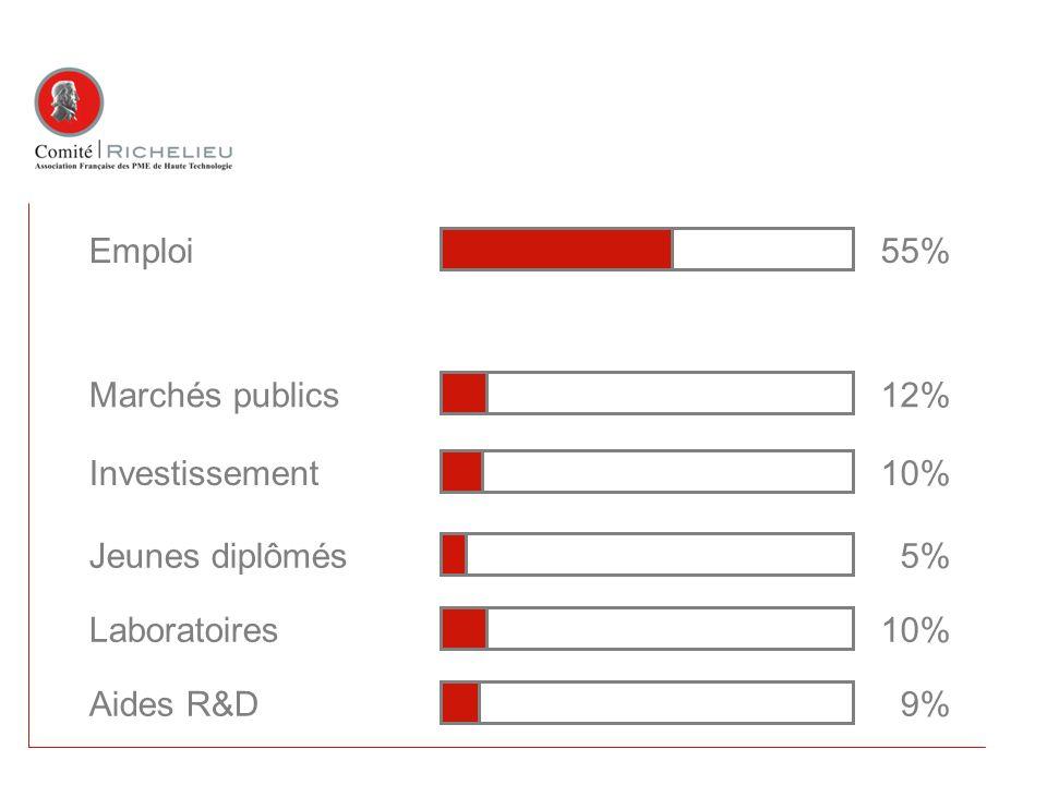 Emploi55% Aides R&D 9% Jeunes diplômés 5% Investissement10% Marchés publics12% Laboratoires10%