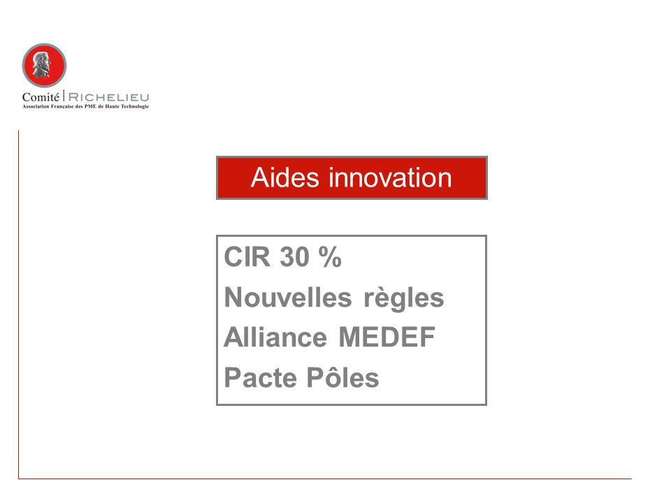 CIR 30 % Nouvelles règles Alliance MEDEF Pacte Pôles Aides innovation