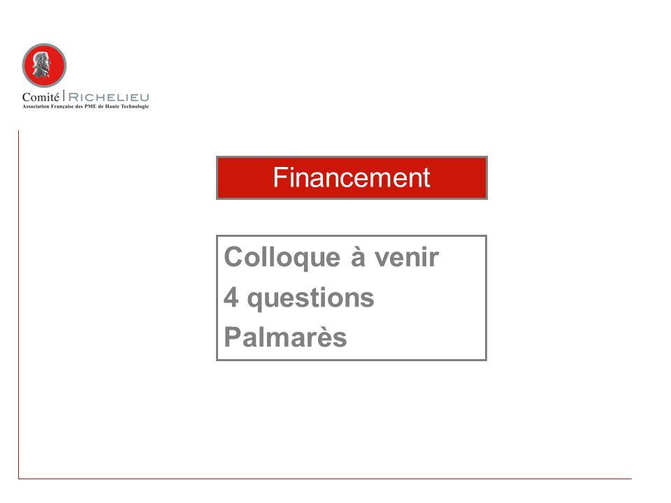 Colloque à venir 4 questions Palmarès Financement