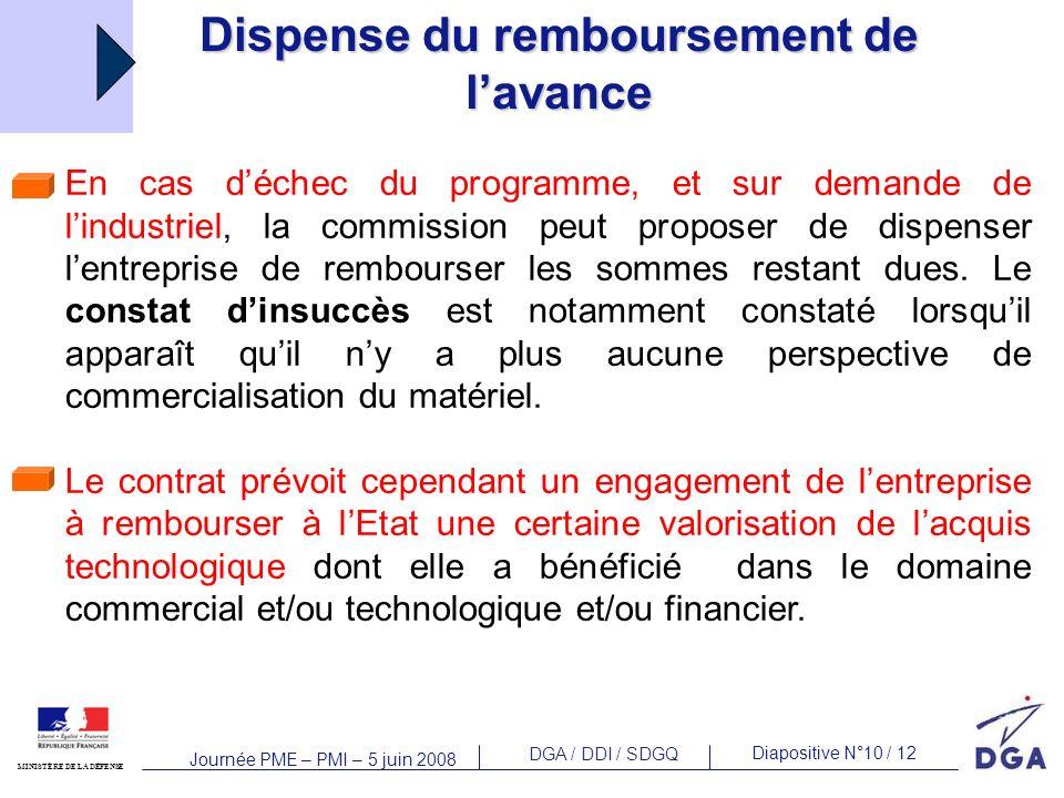 DGA / DDI / SDGQ Diapositive N°10 / 12 MINISTÈRE DE LA DÉFENSE Journée PME – PMI – 5 juin 2008 En cas déchec du programme, et sur demande de lindustriel, la commission peut proposer de dispenser lentreprise de rembourser les sommes restant dues.