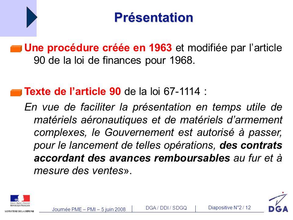 DGA / DDI / SDGQ Diapositive N°2 / 12 MINISTÈRE DE LA DÉFENSE Journée PME – PMI – 5 juin 2008 Présentation Une procédure créée en 1963 et modifiée par larticle 90 de la loi de finances pour 1968.