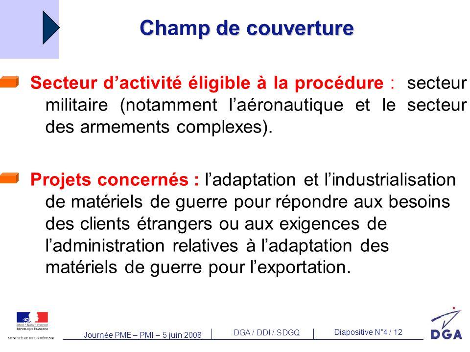 DGA / DDI / SDGQ Diapositive N°4 / 12 MINISTÈRE DE LA DÉFENSE Journée PME – PMI – 5 juin 2008 Chp de couverture Champ de couverture Secteur dactivité