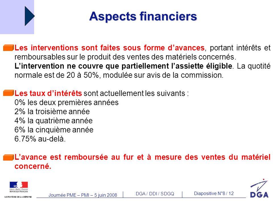 DGA / DDI / SDGQ Diapositive N°8 / 12 MINISTÈRE DE LA DÉFENSE Journée PME – PMI – 5 juin 2008 Aspects financiers Les interventions sont faites sous fo