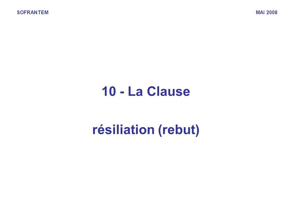 SOFRANTEM MAI 2008 10 - La Clause résiliation (rebut)