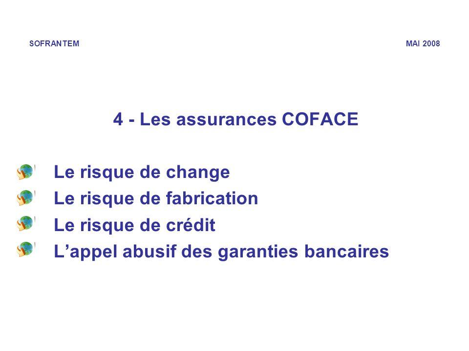SOFRANTEM MAI 2008 4 - Les assurances COFACE Le risque de change Le risque de fabrication Le risque de crédit Lappel abusif des garanties bancaires