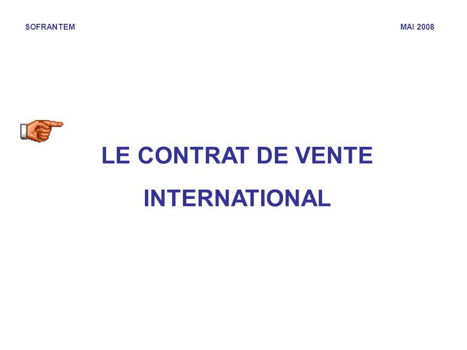 SOFRANTEM MAI 2008 LE CONTRAT DE VENTE INTERNATIONAL