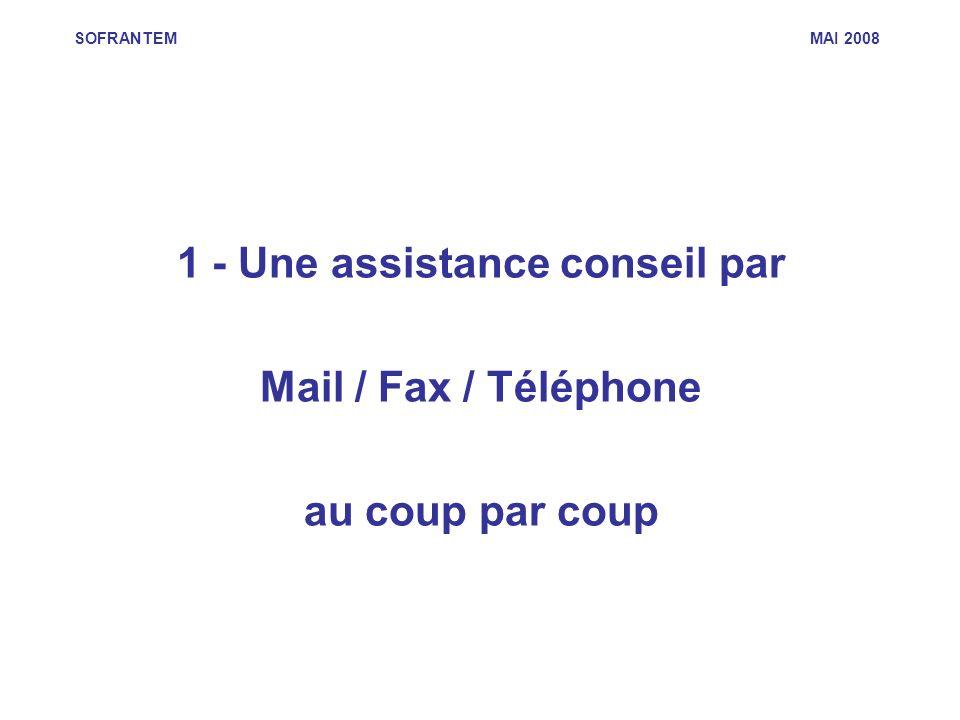 SOFRANTEM MAI 2008 1 - Une assistance conseil par Mail / Fax / Téléphone au coup par coup
