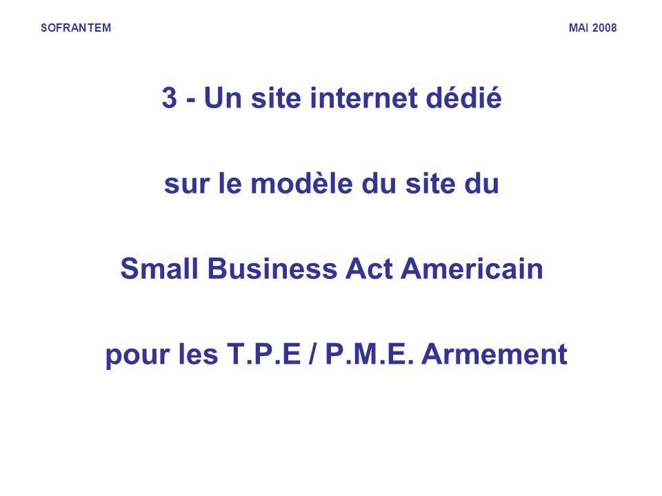 SOFRANTEM MAI 2008 3 - Un site internet dédié sur le modèle du site du Small Business Act Americain pour les T.P.E / P.M.E. Armement