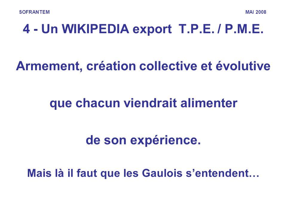 SOFRANTEM MAI 2008 4 - Un WIKIPEDIA export T.P.E. / P.M.E. Armement, création collective et évolutive que chacun viendrait alimenter de son expérience