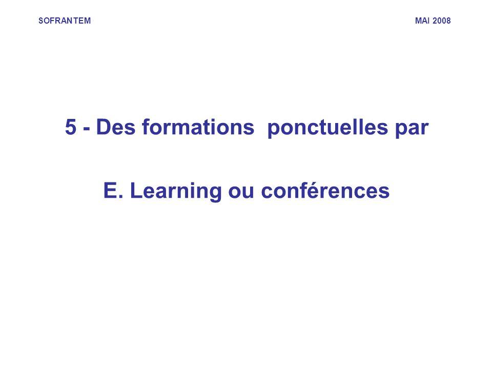 SOFRANTEM MAI 2008 5 - Des formations ponctuelles par E. Learning ou conférences