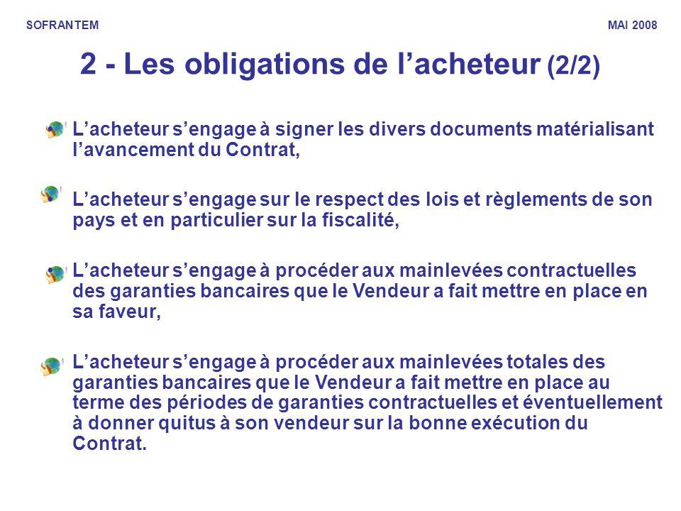 2 - Les obligations de lacheteur (2/2) SOFRANTEM MAI 2008 Lacheteur sengage à signer les divers documents matérialisant lavancement du Contrat, Lachet