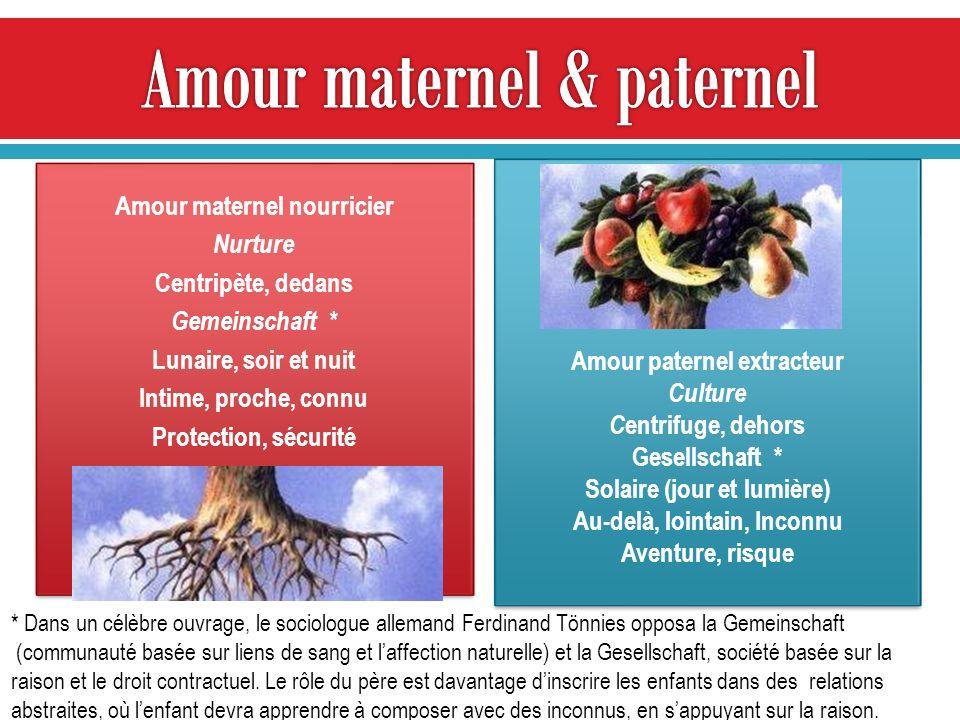 Amour maternel nourricier Nurture Centripète, dedans Gemeinschaft * Lunaire, soir et nuit Intime, proche, connu Protection, sécurité Amour maternel no