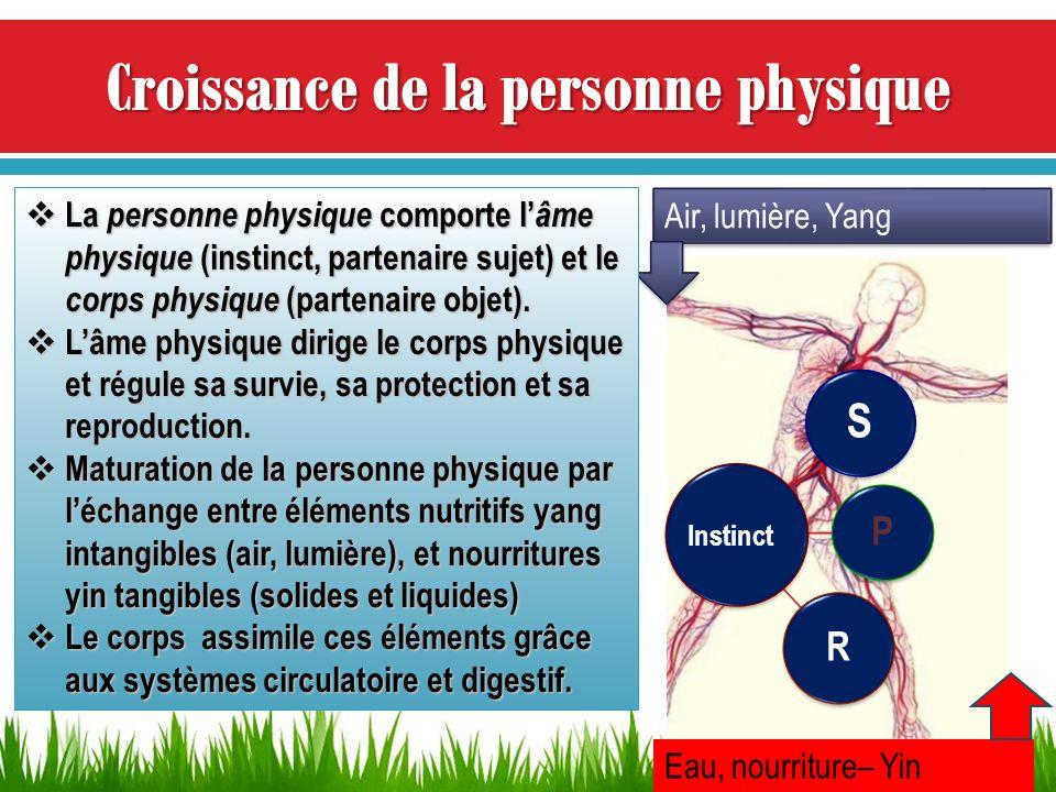 S P R Air, lumière, Yang Eau, nourriture– Yin Instinct La personne physique comporte l âme physique (instinct, partenaire sujet) et le corps physique