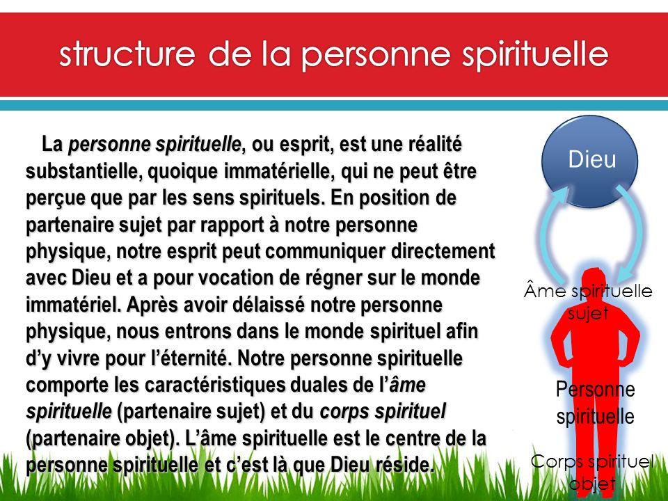 Dieu Âme spirituelle sujet Corps spirituel objet Personne spirituelle La personne spirituelle, ou esprit, est une réalité substantielle, quoique immat
