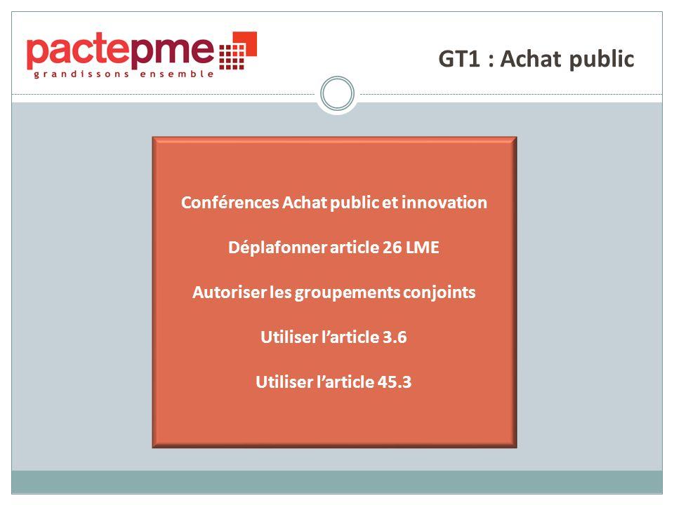 GT1 : Achat public Conférences Achat public et innovation Déplafonner article 26 LME Autoriser les groupements conjoints Utiliser larticle 3.6 Utiliser larticle 45.3