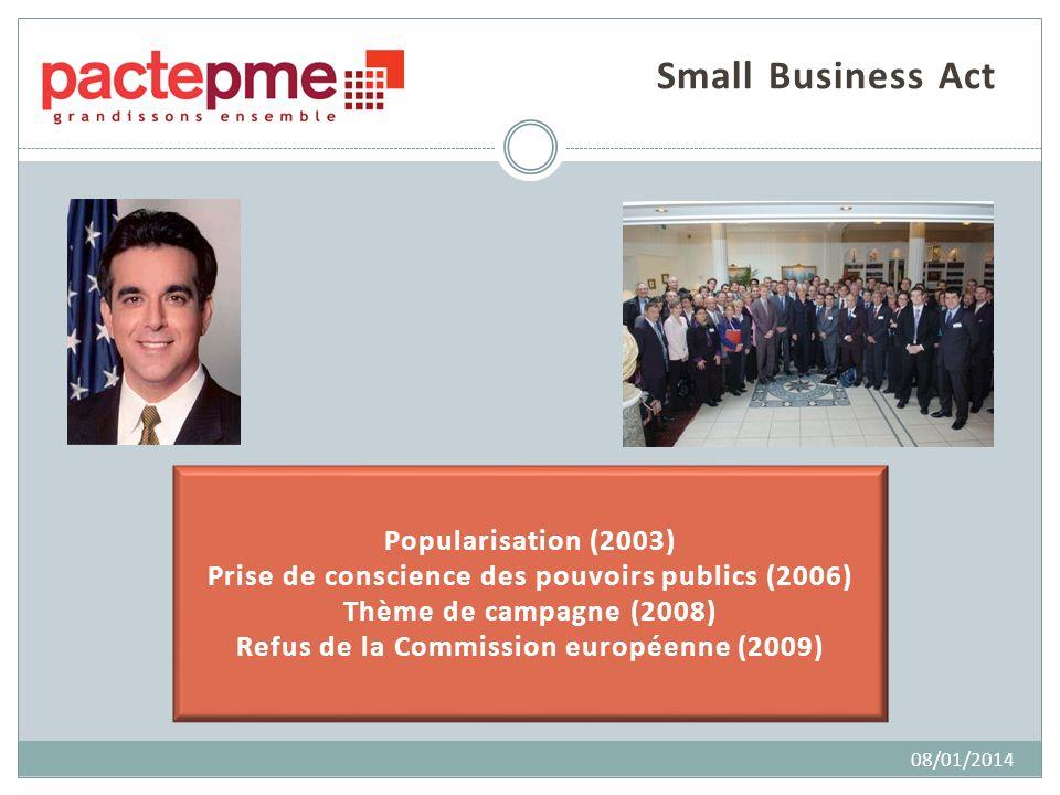 Popularisation (2003) Prise de conscience des pouvoirs publics (2006) Thème de campagne (2008) Refus de la Commission européenne (2009) Small Business Act 08/01/2014