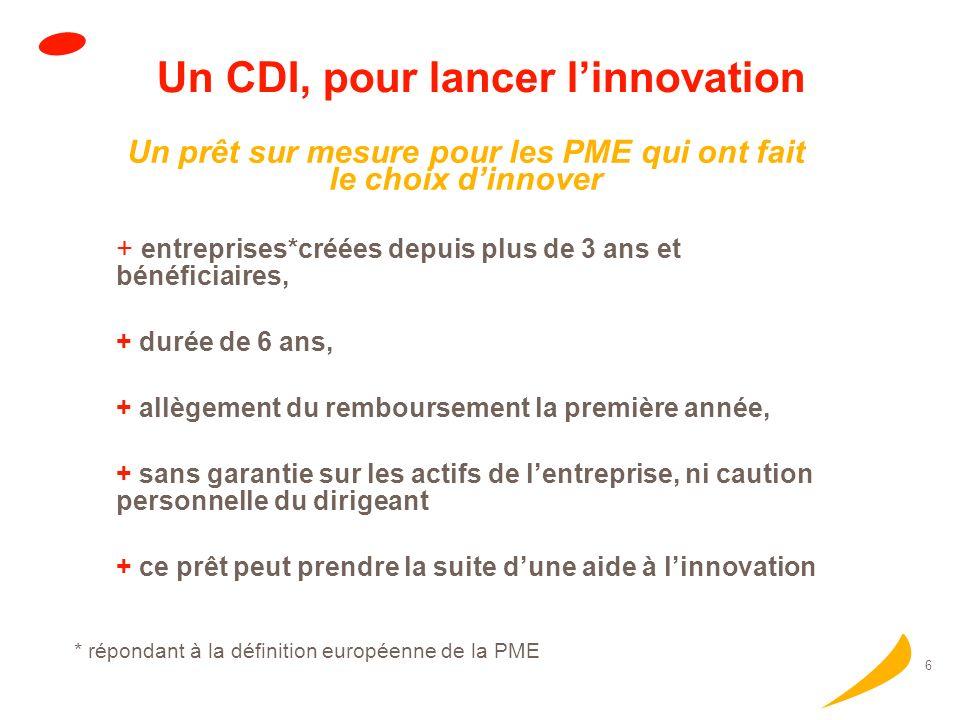 5 * répondant à la définition européenne de la PME Un CDI, pour accélérer la croissance Le CDI renforce la structure financière des PME prêt dun monta