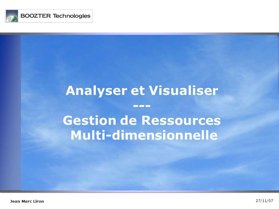 27/11/07 Jean Marc Liron Analyser et Visualiser --- Gestion de Ressources Multi-dimensionnelle