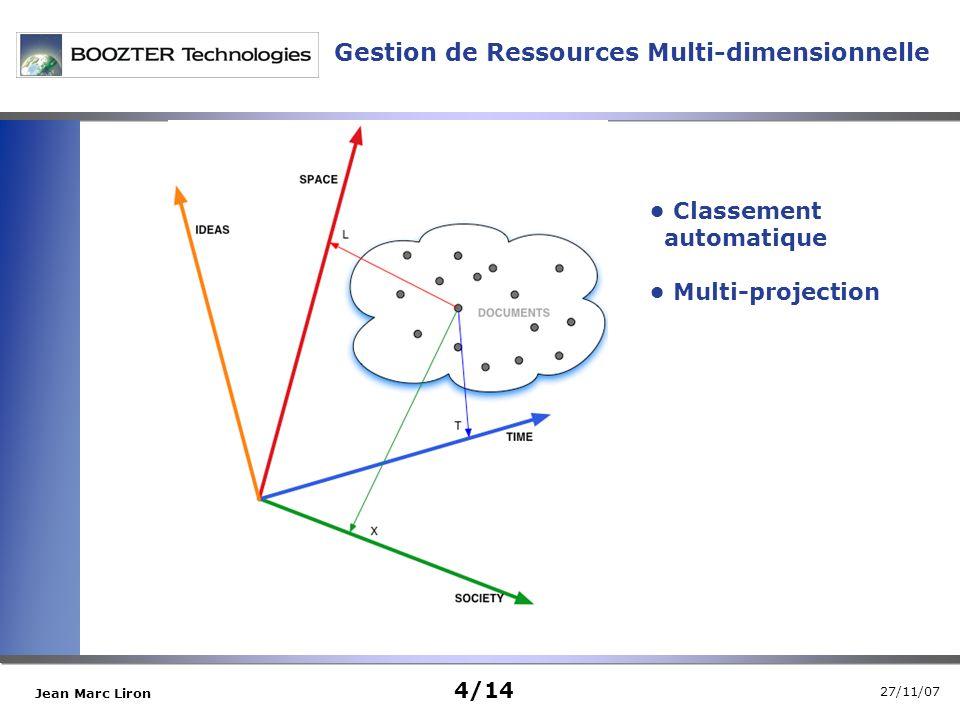 27/11/07 Jean Marc Liron Classement automatique Multi-projection Gestion de Ressources Multi-dimensionnelle 4/14