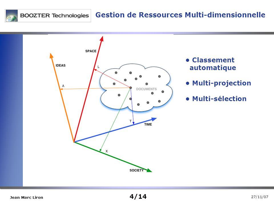 27/11/07 Jean Marc Liron Classement automatique Multi-projection Multi-sélection Gestion de Ressources Multi-dimensionnelle 4/14
