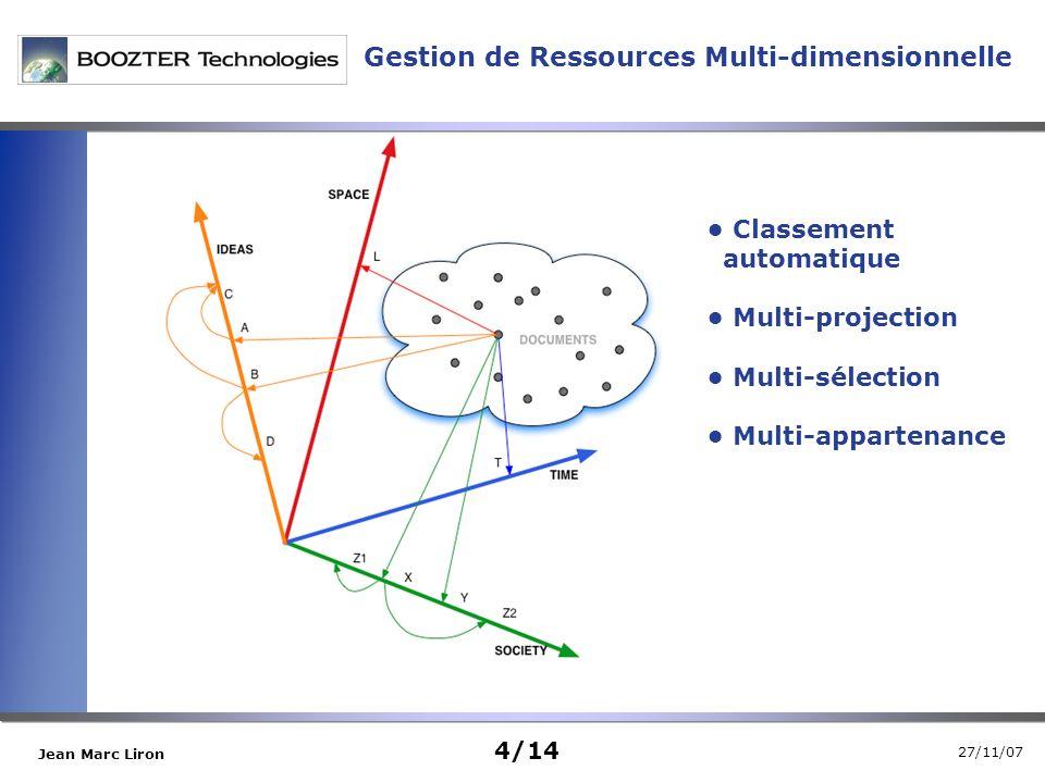 27/11/07 Jean Marc Liron Classement automatique Multi-projection Multi-sélection Multi-appartenance Gestion de Ressources Multi-dimensionnelle 4/14